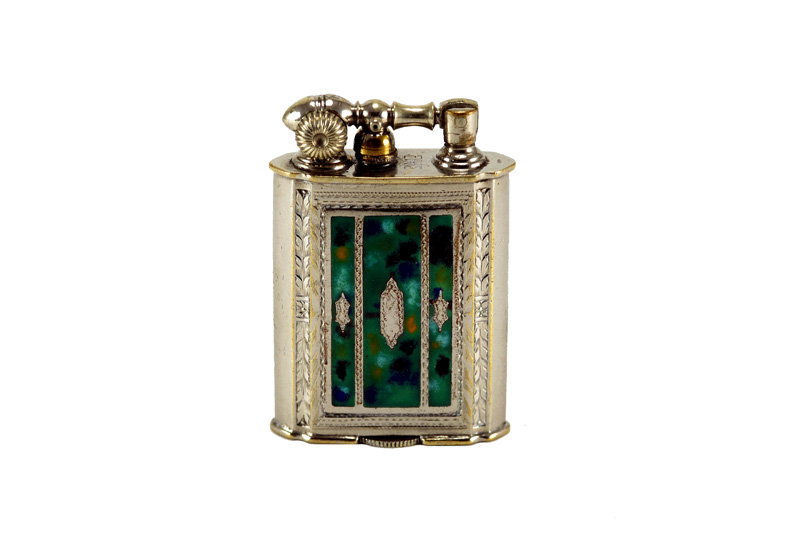evans 2 sided glass enamel gilloche green end  of day liftarm cigarette lighter reverse