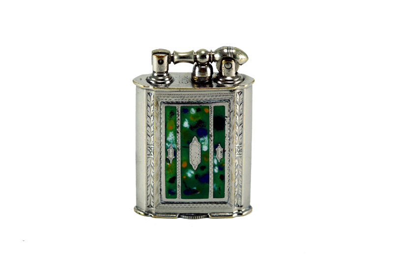 evans glass enamel gilloche white flower basket cigarette lighter