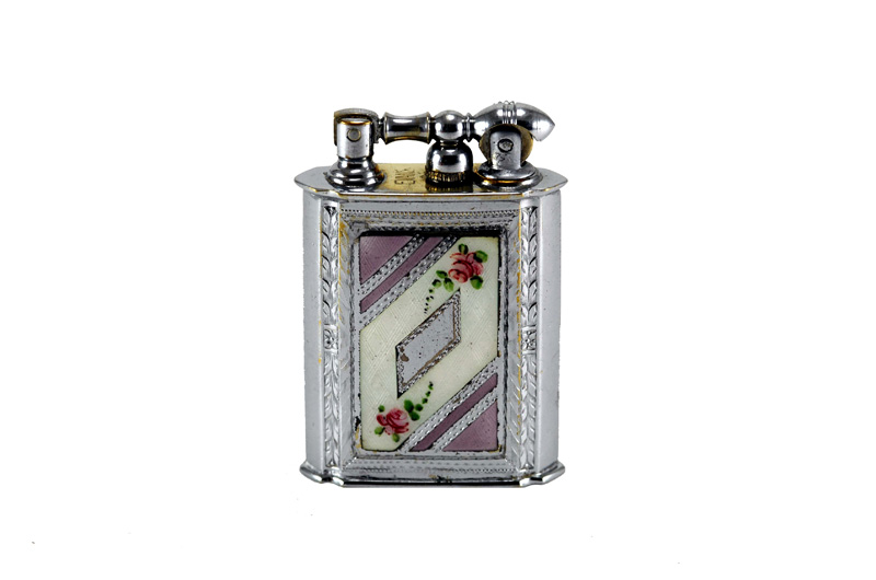 evans 2 sided glass enamel gilloche liftarm cigarette lighter reverse