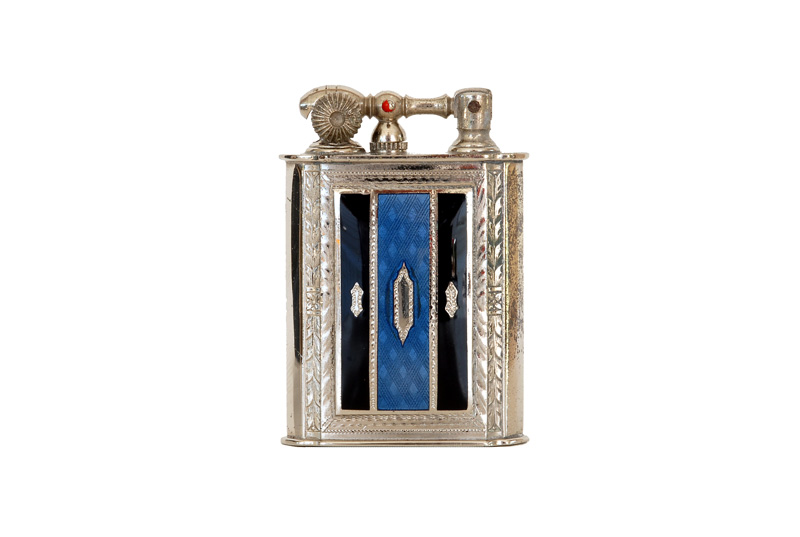 evans glass enamel gilloche  black blue black digonal liftarm cigarette lighter