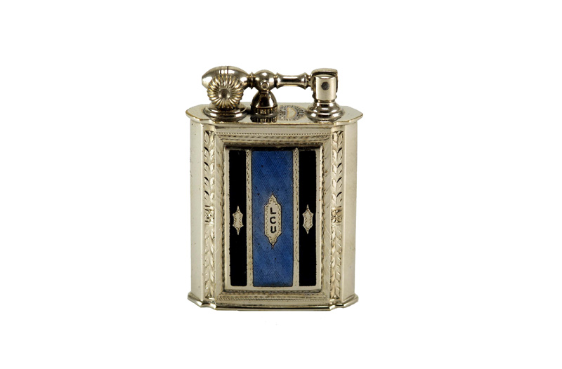 evans glass enamel gilloche black blue black stripe number one liftarm cigarette lighter