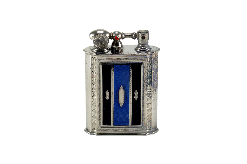 evans glass enamel gilloche black blue black stripe number two liftarm cigarette lighter