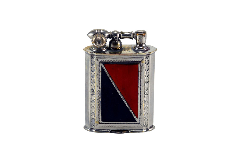 evans glass enamel gilloche  black white black stripe liftarm cigarette lighter