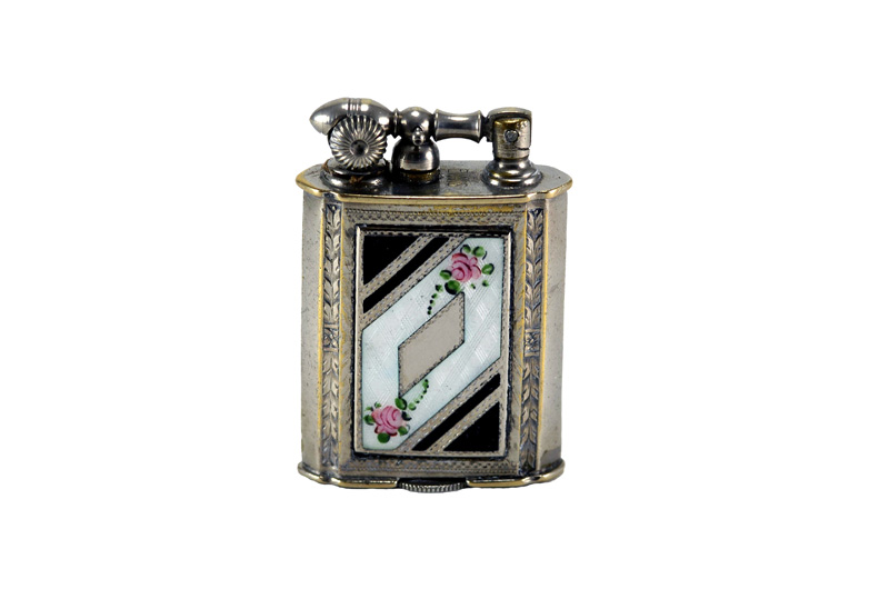 evans glass enamel gilloche black white black 2 rose digonal liftarm cigarette lighter