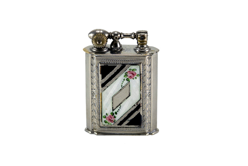 evans glass enamel gilloche  black white black digonal 2 rose number 1 liftarm cigarette lighter