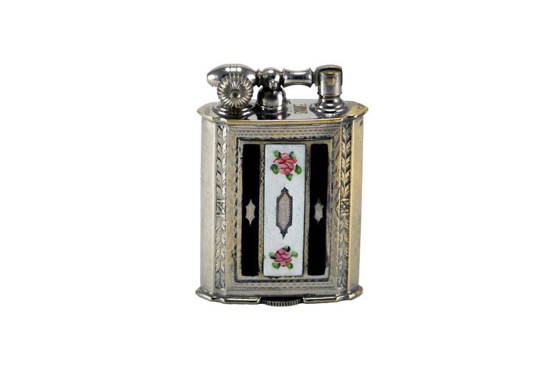 evans glass enamel gilloche black white blavl 2 rose stripe number two liftarm cigarette lighter