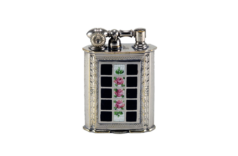 evans glass enamel gilloche black white rose checker board liftarm cigarette lighter
