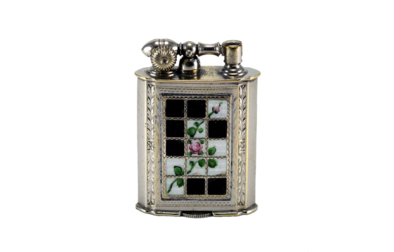 evans glass enamel gilloche black and white rose window liftarm cigarette lighter