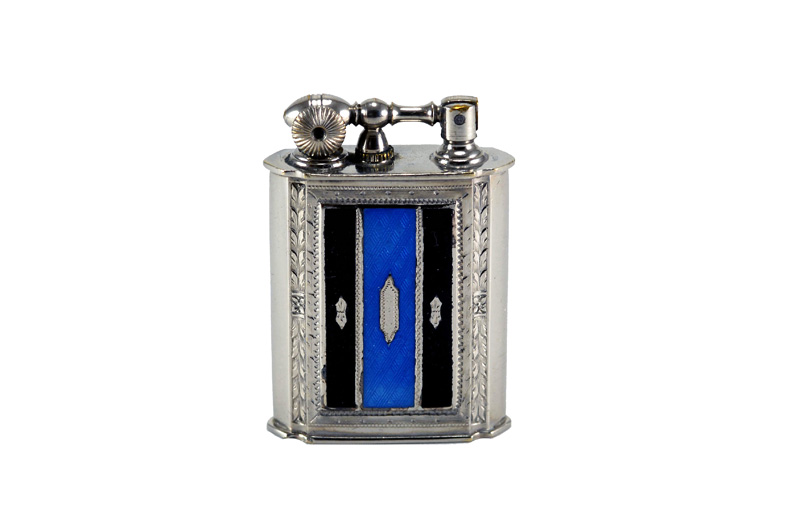 evans glass enamel gilloche black blue black stripe number three liftarm cigarette lighter