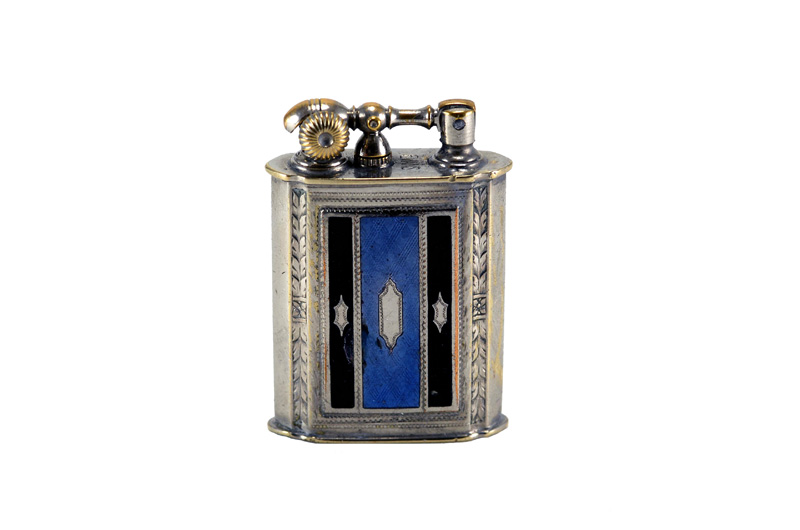 evans glass enamel gilloche black blue black stripe number five liftarm cigarette lighter