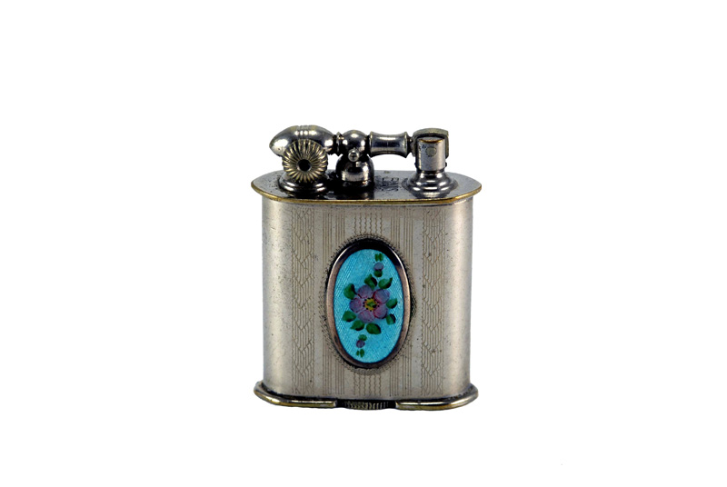 evans glass enamel gilloche small blue oval rose liftarm cigarette lighter