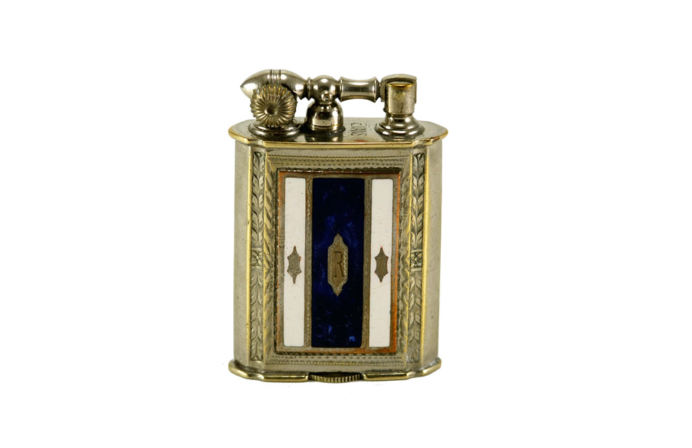 evans glass enamel gilloche white blue blue stripe liftarm cigarette lighter