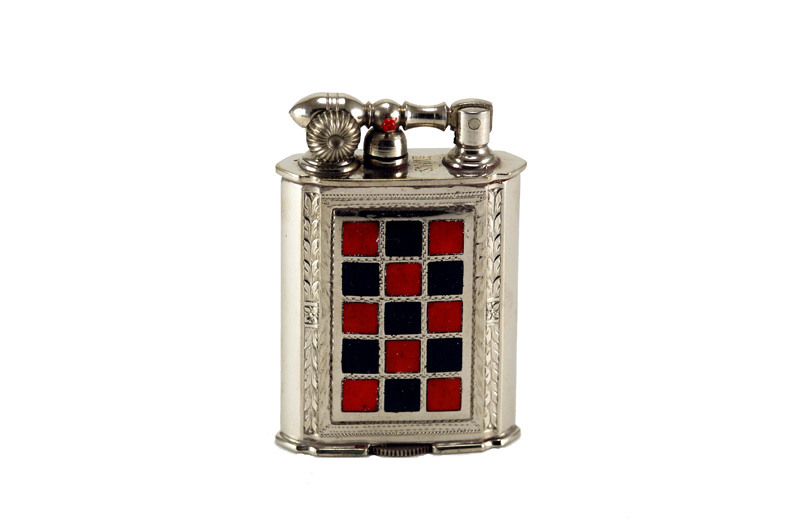 evans glass enamel gilloche black and  red checker board liftarm cigarette lighter one