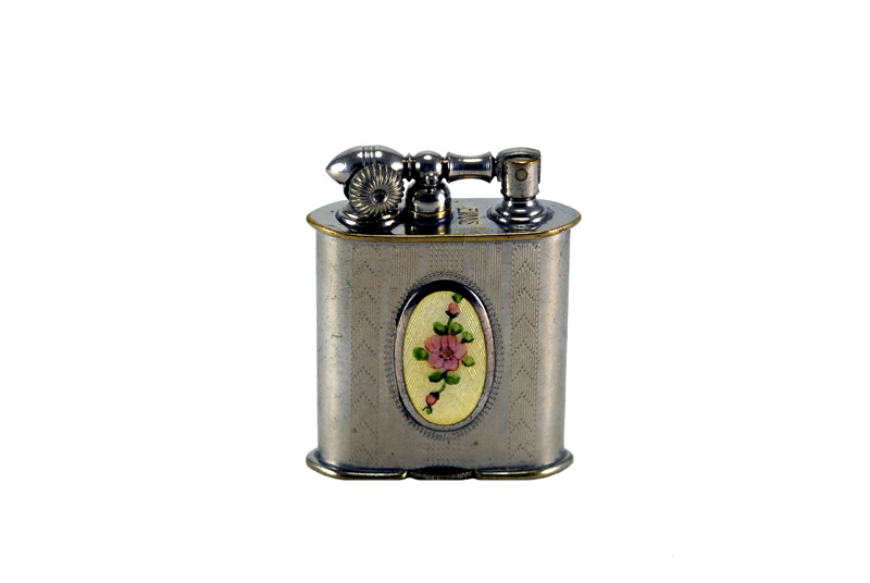 evans glass enamel gilloche small cream rose liftarm cigarette lighter
