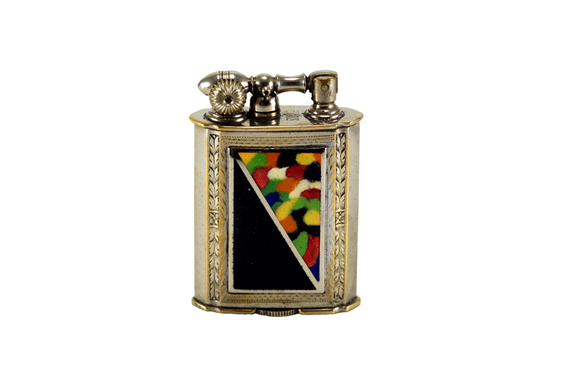 evans glass enamel gilloche black end of day liftarm cigarette lighter