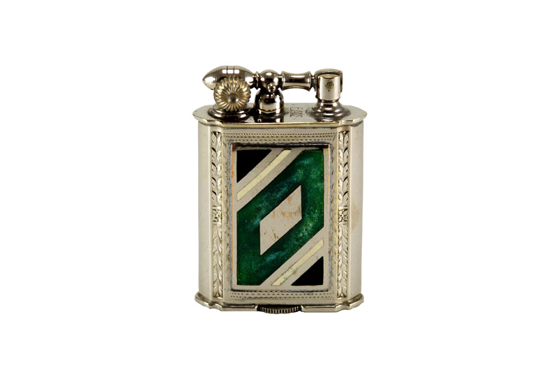 evans glass enamel gilloche  black white green white black liftarm cigarette lighter