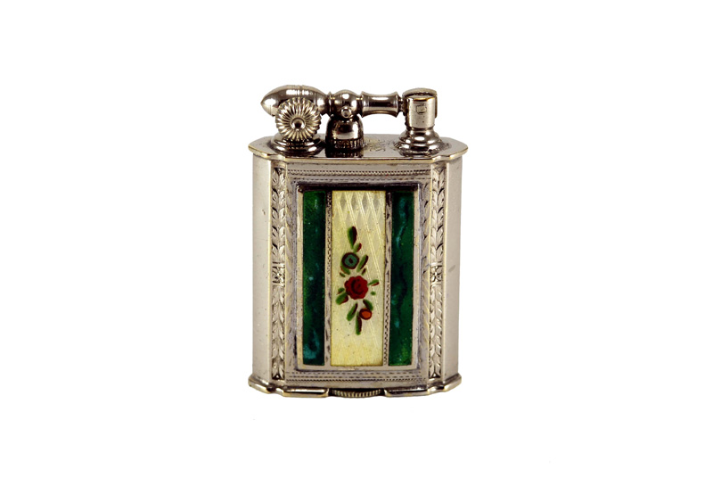 evans glass enamel gilloche green white with flowers liftarm cigarette lighter