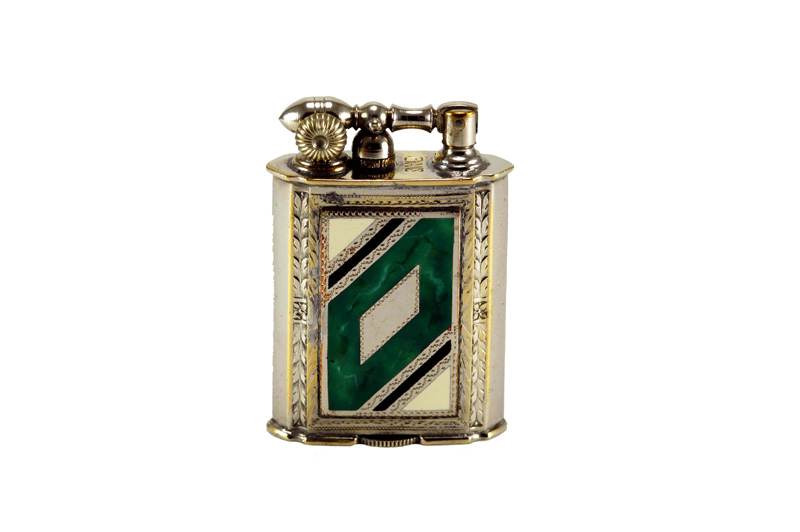evans glass enamel gilloche  light grene white green digonal rose liftarm cigarette lighter