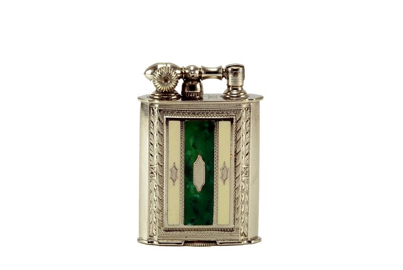 evans glass enamel gilloche  white green white stripe liftarm cigarette lighter