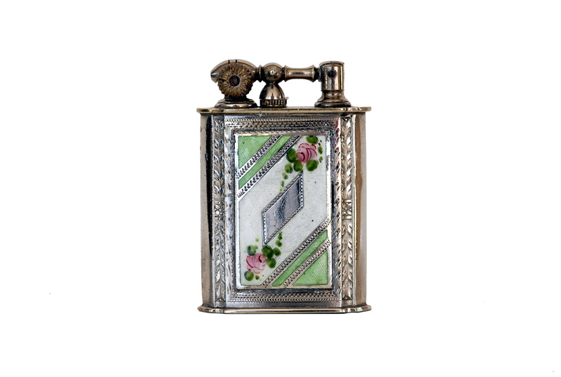 evans glass enamel gilloche  green and white two rose liftarm cigarette lighter