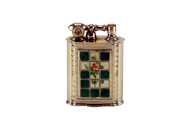 evans glass enamel gilloche green and white rose window liftarm cigarette lighter