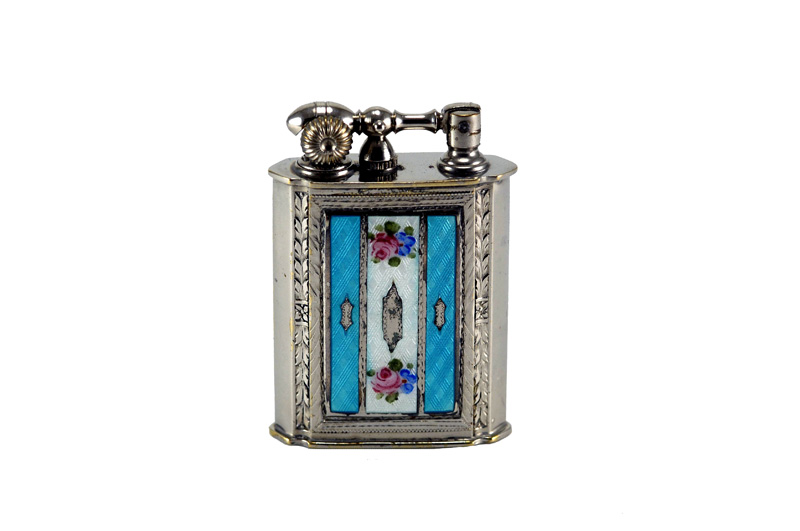 evans glass enamel gilloche  blue white blue rose liftarm cigarette lighter