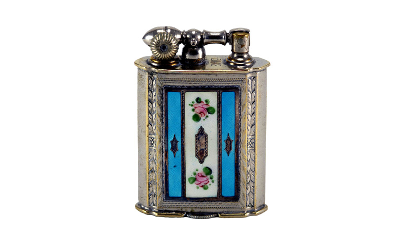 evans glass enamel gilloche  blue white blue rose number 3 liftarm cigarette lighter