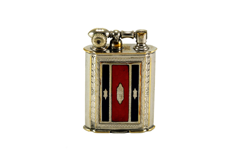 evans glass enamel gilloche black red black stripe liftarm cigarette lighter