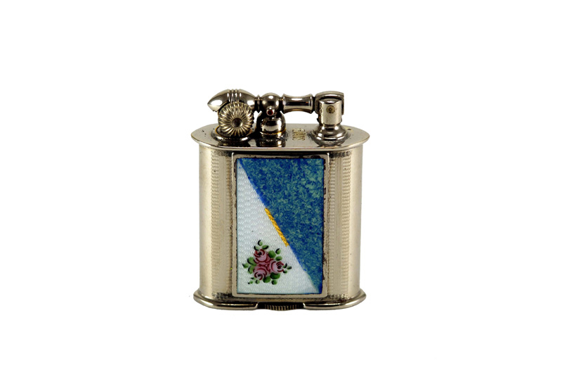 evans glass enamel gilloche small purple green flower liftarm cigarette lighter