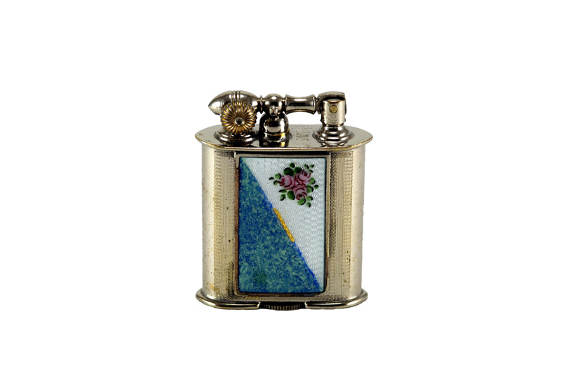 evans glass enamel gilloche small white blue rose liftarm cigarette lighter