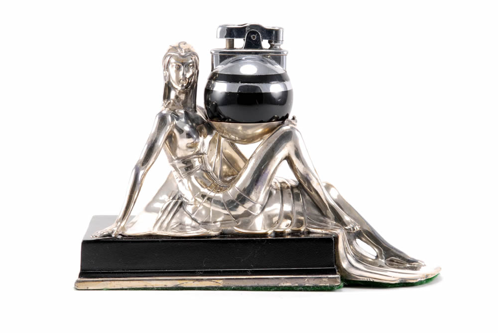 ronson rondelight egyptian girl artdeco table cigarette lighter