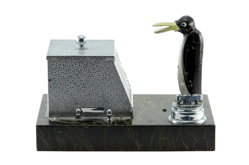 vintage art deco ronson new yorker fitment penguin table cigarette dispenser cigarette lighter